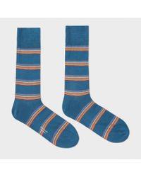 Paul Smith | Men's Petrol Blue Multi-stripe Block Socks for Men | Lyst