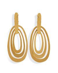 Herve Van Der Straeten - Metallic Hammered Gold-Plated Saturne Clip Earrings - Lyst