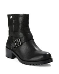424 Fifth Black Walcott Leather Ankle Boots