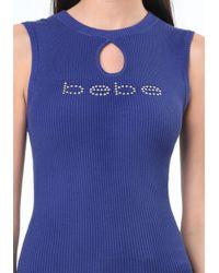 Bebe - Blue Logo Ribbed Keyhole Sweater - Lyst