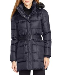 Lauren by Ralph Lauren - Blue Faux Fur Trim Belted Down & Feather Fill Coat - Lyst
