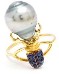 Daniela Villegas | Blue Sapphire And Pearl Beetle Ring | Lyst