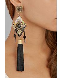 Etro Black Gold-Tone, Cabochon And Tassel Clip Earrings
