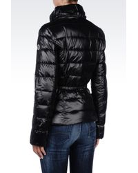 Armani Jeans - Black Down Jacket In Technical Fabric With Belted Waist - Lyst