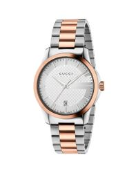 Gucci Metallic Medium G-timeless With Steel And Pink Gold Pvd Bracelet for men