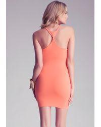 Bebe Gray Twist Racerback Petite Dress
