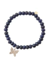 Sydney Evan | Blue Sapphire Rondelle Beaded Bracelet With 14K Gold/Diamond Small Butterfly Charm (Made To Order) | Lyst
