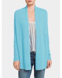 White + Warren Blue Cashmere Side Crossover Cardigan