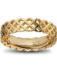 Gucci | Metallic Motif 18ct Yellow-gold Ring | Lyst
