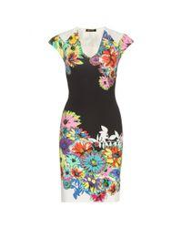 Roberto Cavalli | Multicolor Floral-Print Mini Dress | Lyst