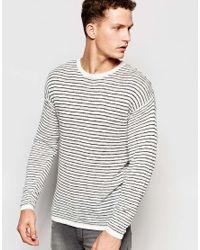 SELECTED White Lightweight Stripe Knitted Jumper for men