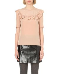 Claudie Pierlot | Orange Brooks Frilled-trim Top - For Women | Lyst