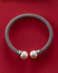 Majorica - Metallic White Pearl-cap Bangle - Lyst