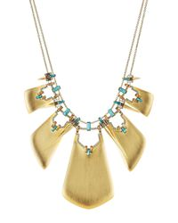 Alexis Bittar | Metallic Gold Plated Necklace With Lucite, Howlite And Crystals - Gold | Lyst