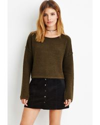 Forever 21 - Green Contemporary Brushed Knit Cropped Sweater - Lyst