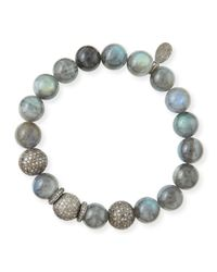 Sheryl Lowe | Metallic 10Mm Labradorite & Pave Diamond Beaded Bracellet | Lyst