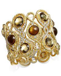 INC International Concepts - Metallic Gold-tone Crystal Pavé Tiger's Eye Stretch Bracelet - Lyst