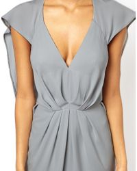 ASOS - Gray Batwing Pleated Cape Dress - Lyst