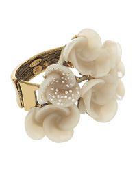 Oscar de la Renta Metallic Resin Swirl Flower Bracelet