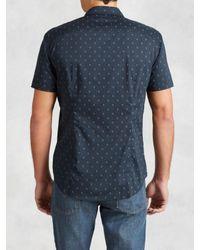 John Varvatos - Blue Cotton Skull Print Shirt for Men - Lyst