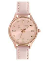 Ted Baker - Pink 'dress Sport' Leather Strap Watch - Lyst