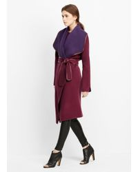 Vince | Purple Drape Front Belted Coat With Leather Trim | Lyst