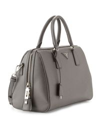 Prada - Gray Saffiano Lux Bowler Bag with Strap - Lyst