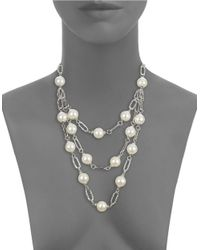 Panacea | White Faux Pearl Triple-row Necklace | Lyst