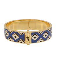 Diane von Furstenberg | Blue Geometric Hinge Bangle Bracelet | Lyst