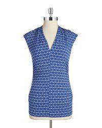 Vince Camuto   Blue Petite Sahara Textured Pleated Top   Lyst