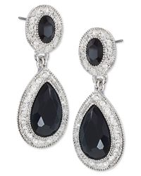Carolee | Metallic Silver-tone Pave Glass Stone Double-drop Earrings | Lyst