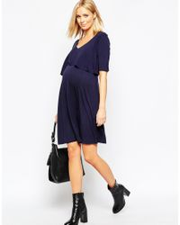 Bluebelle Maternity Blue Double Layer Swing Dress With Frill Back