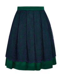 Matthew Williamson Green Layered Lace And Satin Skirt