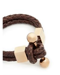 Givenchy - Brown Whip Braid Leather Bracelet - Lyst