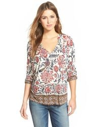 Lucky Brand - Gray 'painted Scarf' Split Neck Top - Lyst