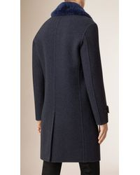 Burberry Blue Wool Topcoat With Shearling Collar for men