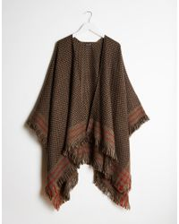 Warehouse - Natural Checked Cape - Lyst