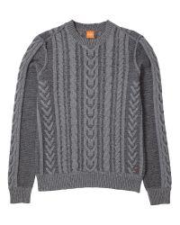 BOSS Gray Boss Orange Kaas Cable Knit Jumper for men