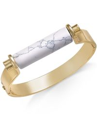 INC International Concepts | White Gold-tone Marble Stone Print Hinge Bracelet | Lyst
