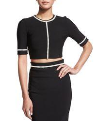 Mugler - Black Pearly-embellished Half-sleeve Crop Top - Lyst