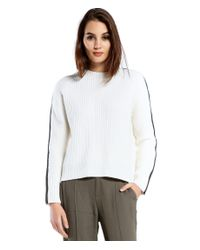 Michael Stars | White Merino Sweater With Leather Sleeve Side Zippers | Lyst