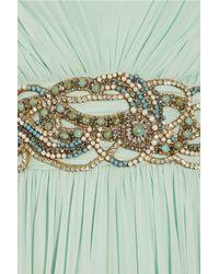 Marchesa | Green Crystal-embellished Silk-chiffon Gown | Lyst