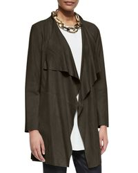 Eileen Fisher - Green Draped Suede Jacket  - Lyst