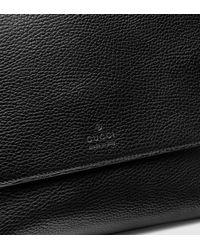 Gucci Black Leather Medium Flap Messenger Bag for men