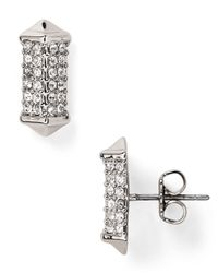 Rebecca Minkoff - Metallic Pave Rectangle Stud Earrings - Lyst