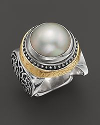 Konstantino Metallic Sterling Silver And 18K Gold Large Pearl Ring With Greek Inscription