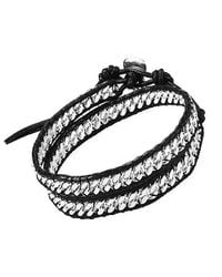 Aeravida | Black Silver Cable Links Genuine Leather Double Wrap Bracelet | Lyst