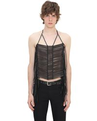 CoSTUME NATIONAL - Black Wood & Leather Necklace - Lyst