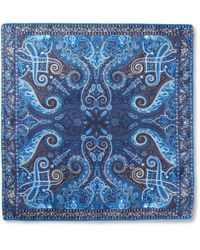 Etro | Blue Paisleyprint Silk Pocket Square for Men | Lyst