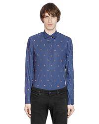 KENZO Blue Ufo Printed Cotton Poplin Shirt for men